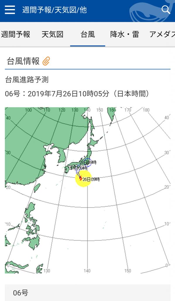 台風6号進路予想